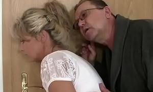 Profane olds seduces his hot GF as he leaves