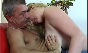 Steamy old and young action with pudgy dude banging hot chick