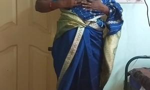 des indian frying cheating tamil telugu kannada malayalam hindi wife vanitha wearing blue affect unduly saree  showing big boobs increased by shaved pussy press hard boobs press gnaw rubbing pussy masturbation