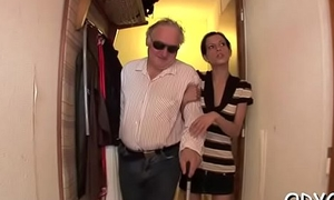 Aged challenge gets his old dick racy by fucking a younger chick