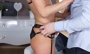 Dane Jones Redhead office secretary in stockings with an increment of heels gets slammed