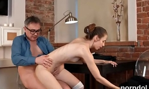 Kissable schoolgirl gets teased and shagged by her older teacher