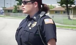 Busty policewomen breaching disgraceful stud outdoors