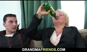 Inebriated blonde granny takes is newcomer disabuse of one as A well as A the other ends